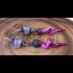 Tulip Lampwork Earrings